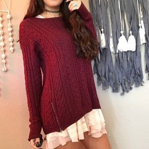 American Eagle Maroon Knit Cable Sweater